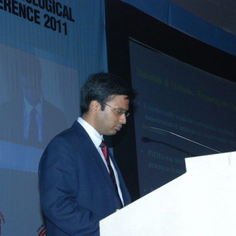 Dr. Debraj Shome delivering Keynote Address, as Colonel Rangachari Award Winner (for Best Research Paper in India 2010-11), at All India Ophthalmological Society Meeting at Ahmedabad, India, 2011